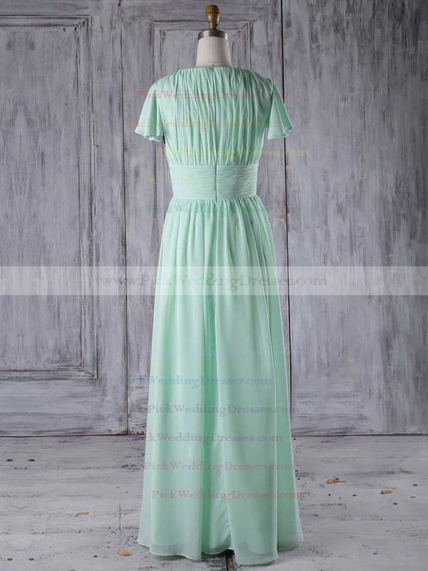 Chiffon Scoop Neck Floor-length A-line with Ruffles Bridesmaid Dresses #PWD01013286