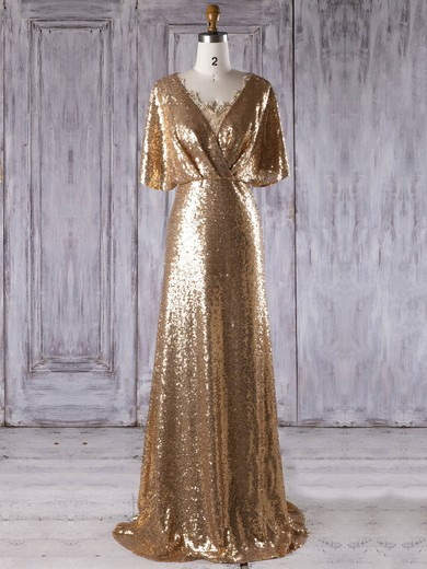 Sequined V-neck Sweep Train Sheath/Column with Appliques Lace Bridesmaid Dresses #PWD01013288
