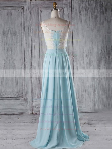Chiffon V-neck Floor-length A-line with Lace Bridesmaid Dresses #PWD01013289
