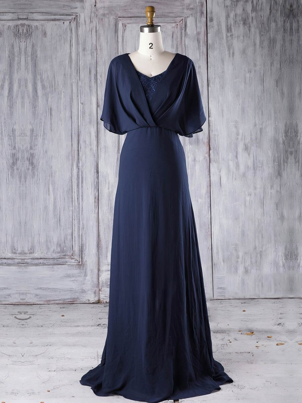Lace|Chiffon V-neck Sweep Train A-line with Sequins Bridesmaid Dresses #PWD01013290