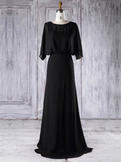 Chiffon Scoop Neck Floor-length A-line with Ruffles Bridesmaid Dresses #PWD01013291