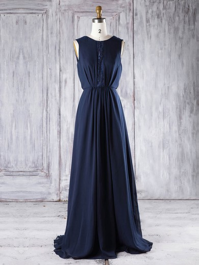 Lace|Chiffon Scoop Neck Floor-length A-line with Sequins Bridesmaid Dresses #PWD01013292