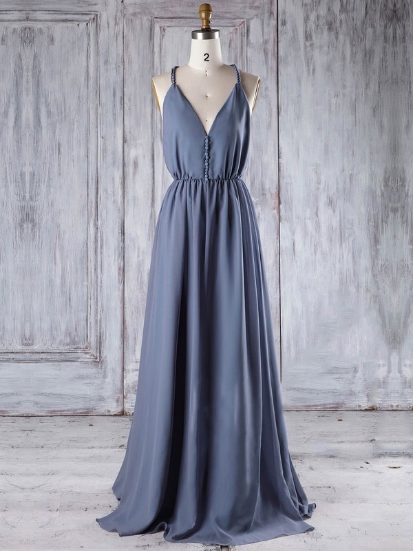 Chiffon V-neck Floor-length A-line with Ruffles Bridesmaid Dresses #PWD01013293