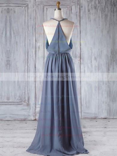 Chiffon V-neck Floor-length A-line with Ruffles Bridesmaid Dresses #PWD01013293
