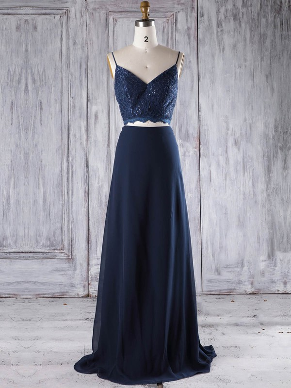Chiffon V-neck Floor-length A-line with Lace Bridesmaid Dresses #PWD01013294