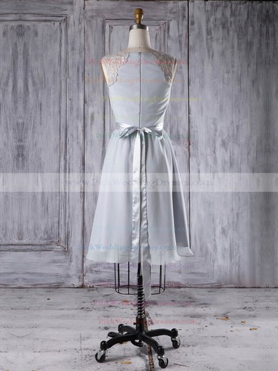 Chiffon Scoop Neck Short/Mini A-line with Sashes / Ribbons Bridesmaid Dresses #PWD01013295