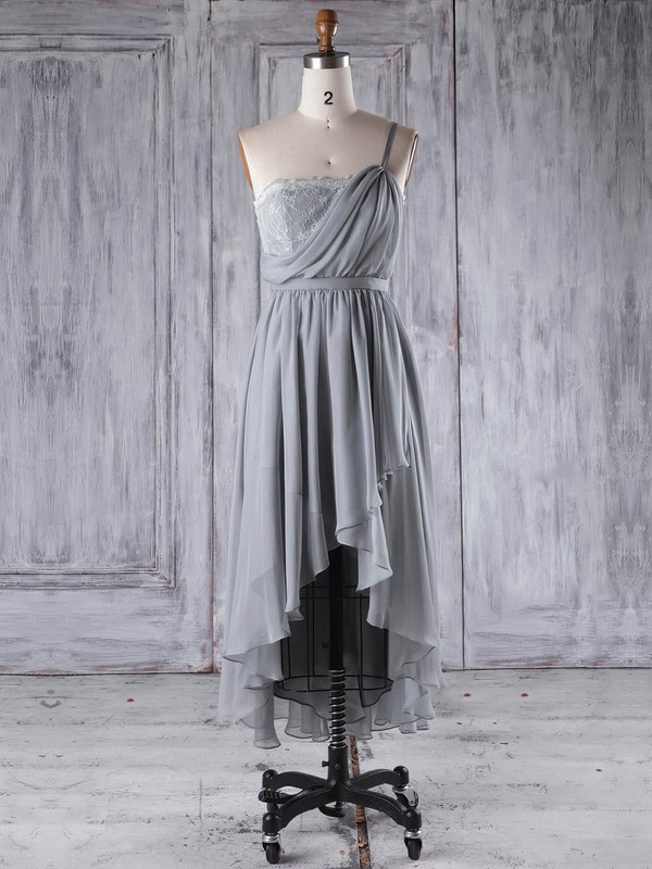 Lace|Chiffon One Shoulder Asymmetrical A-line with Sashes / Ribbons Bridesmaid Dresses #PWD01013296