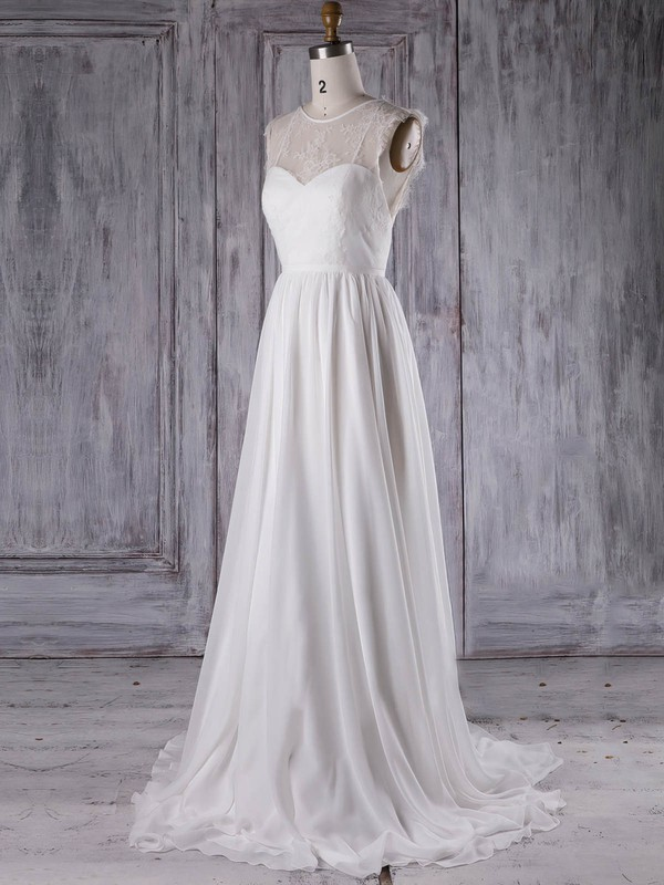 Lace|Chiffon Scoop Neck Sweep Train A-line with Ruffles Bridesmaid Dresses #PWD01013297