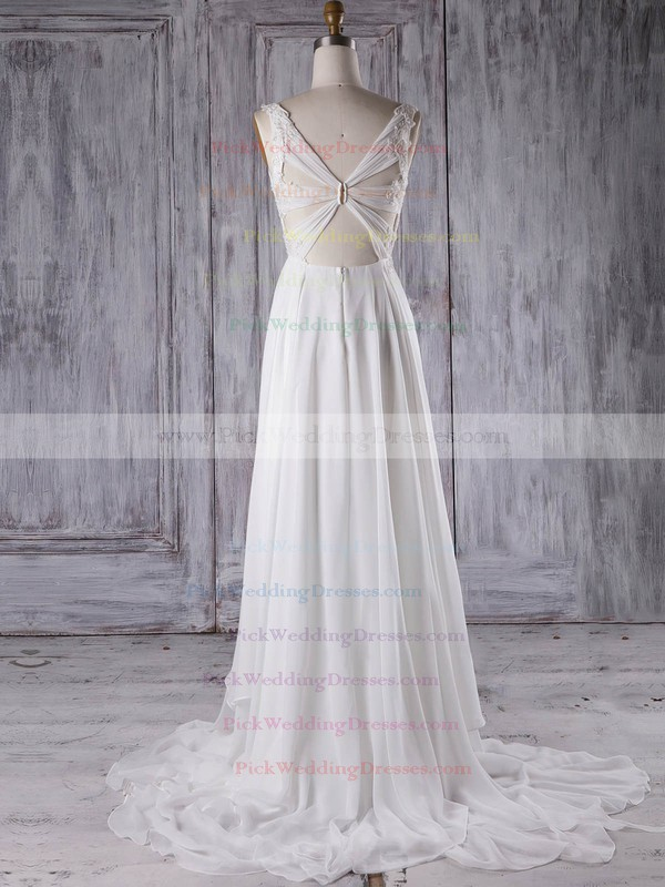 Chiffon V-neck Sweep Train A-line with Appliques Lace Bridesmaid Dresses #PWD01013299