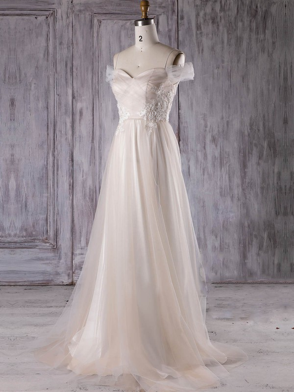 Tulle V-neck Sweep Train A-line with Appliques Lace Bridesmaid Dresses #PWD01013301