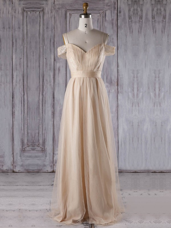 Tulle V-neck Floor-length A-line with Lace Bridesmaid Dresses #PWD01013302
