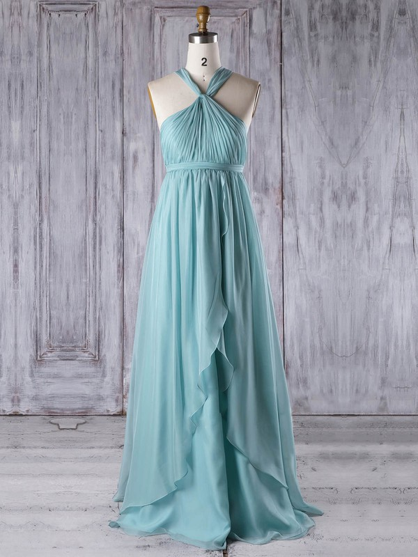 Chiffon V-neck Floor-length Empire with Ruffles Bridesmaid Dresses #PWD01013303
