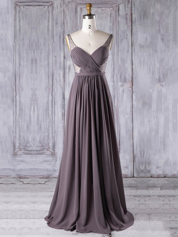 Chiffon|Tulle V-neck Floor-length A-line with Pearl Detailing Bridesmaid Dresses #PWD01013304