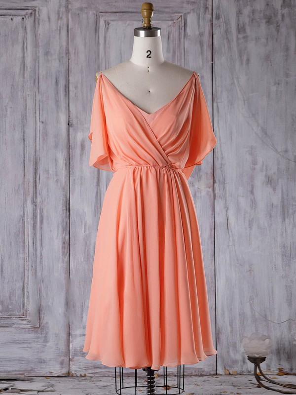 Chiffon V-neck Short/Mini A-line with Sashes / Ribbons Bridesmaid Dresses #PWD01013305