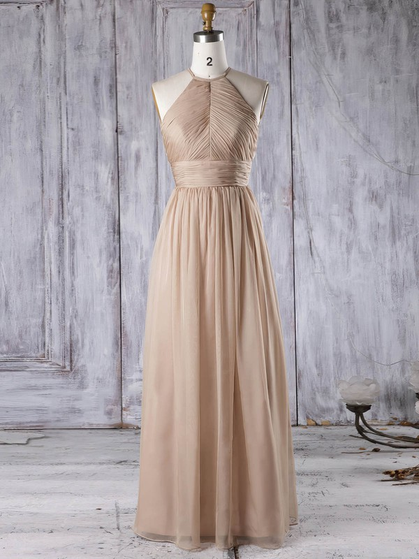 Chiffon Scoop Neck Floor-length A-line with Ruffles Bridesmaid Dresses #PWD01013306