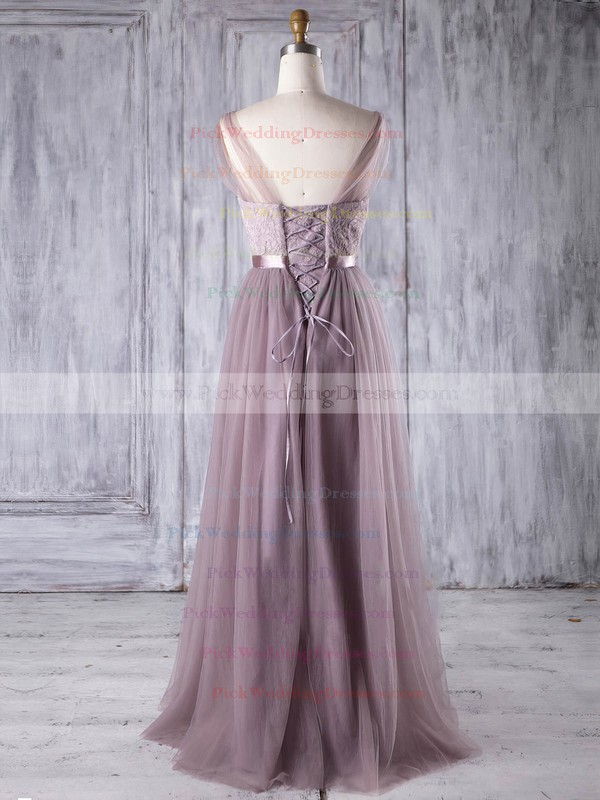 Lace|Tulle V-neck Floor-length A-line with Sashes / Ribbons Bridesmaid Dresses #PWD01013308