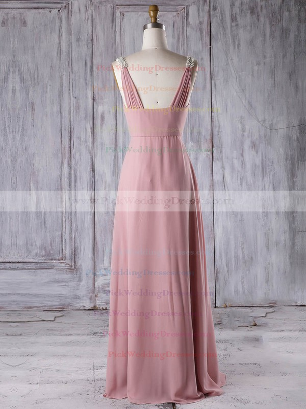 Chiffon V-neck Floor-length A-line with Appliques Lace Bridesmaid Dresses #PWD01013309
