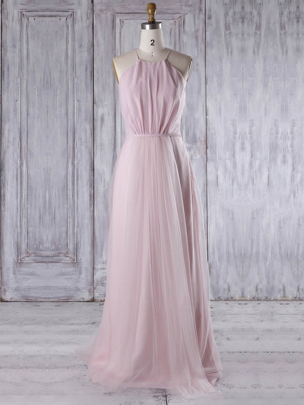 Tulle Scoop Neck Sweep Train A-line with Sashes / Ribbons Bridesmaid Dresses #PWD01013310