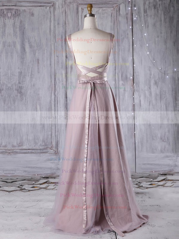 Tulle V-neck Floor-length A-line with Sashes / Ribbons Bridesmaid Dresses #PWD01013311