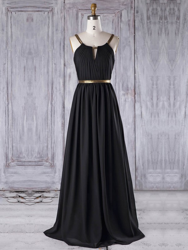Chiffon Scoop Neck Floor-length A-line with Ruffles Bridesmaid Dresses #PWD01013312