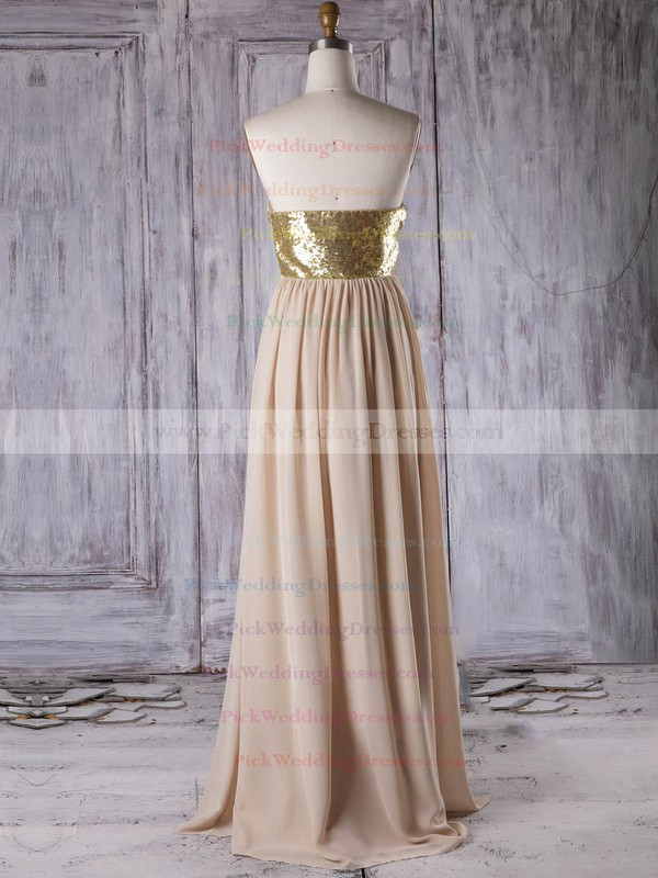 Chiffon Sweetheart Floor-length A-line with Sequins Bridesmaid Dresses #PWD01013314