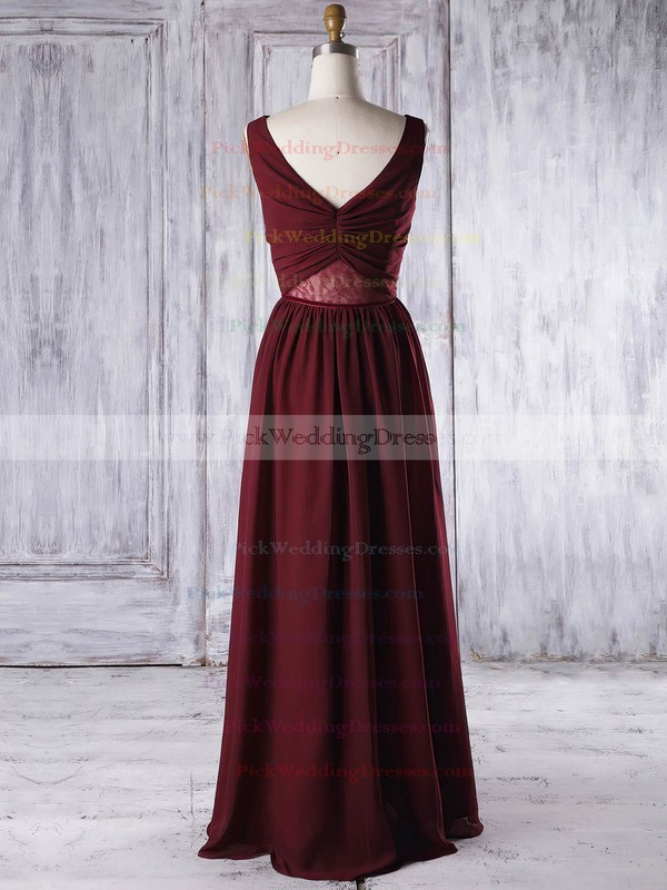 Lace|Chiffon V-neck Floor-length A-line with Criss Cross Bridesmaid Dresses #PWD01013316