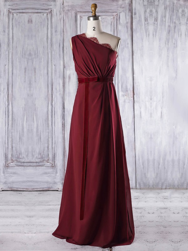 Lace|Chiffon One Shoulder Floor-length A-line with Sashes / Ribbons Bridesmaid Dresses #PWD01013317