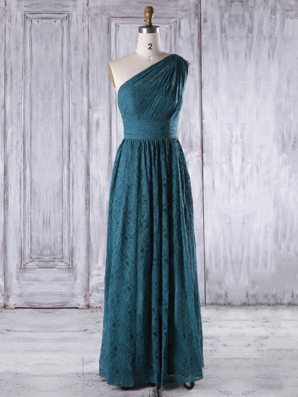 Lace One Shoulder Floor-length A-line with Ruffles Bridesmaid Dresses #PWD01013318