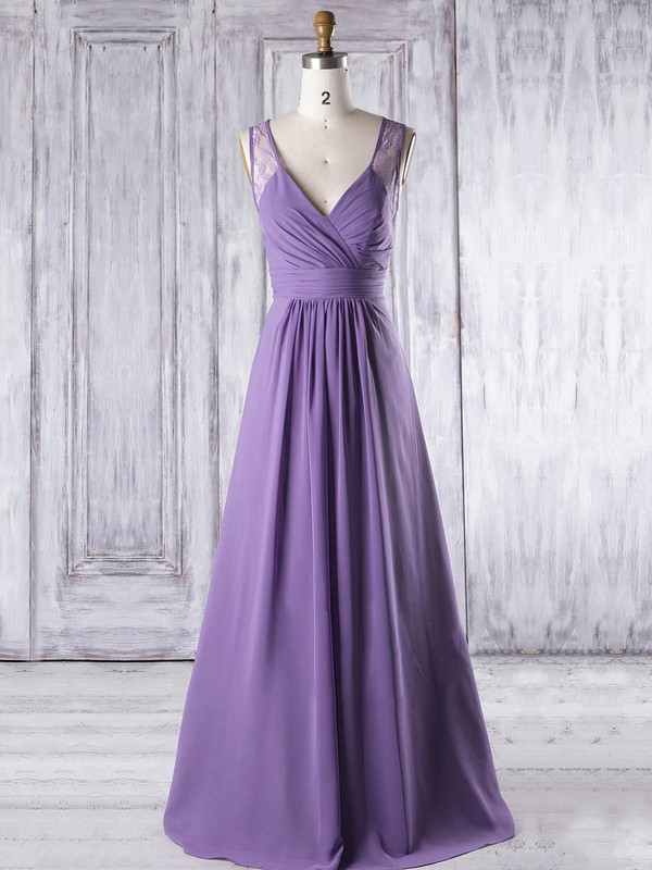 Lace|Chiffon V-neck Floor-length A-line with Ruffles Bridesmaid Dresses #PWD01013319