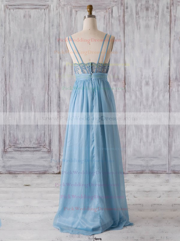 Chiffon V-neck Floor-length A-line with Lace Bridesmaid Dresses #PWD01013320