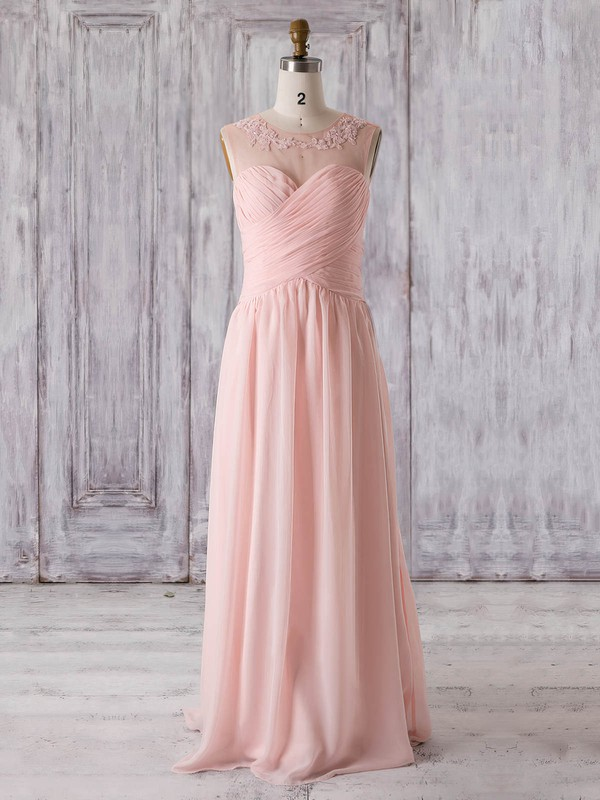 Chiffon|Tulle Scoop Neck Floor-length A-line with Appliques Lace Bridesmaid Dresses #PWD01013321
