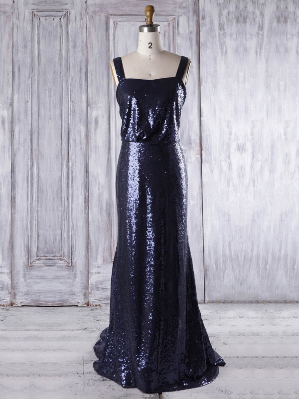 Sequined Square Neckline Sweep Train Sheath/Column with Ruffles Bridesmaid Dresses #PWD01013322