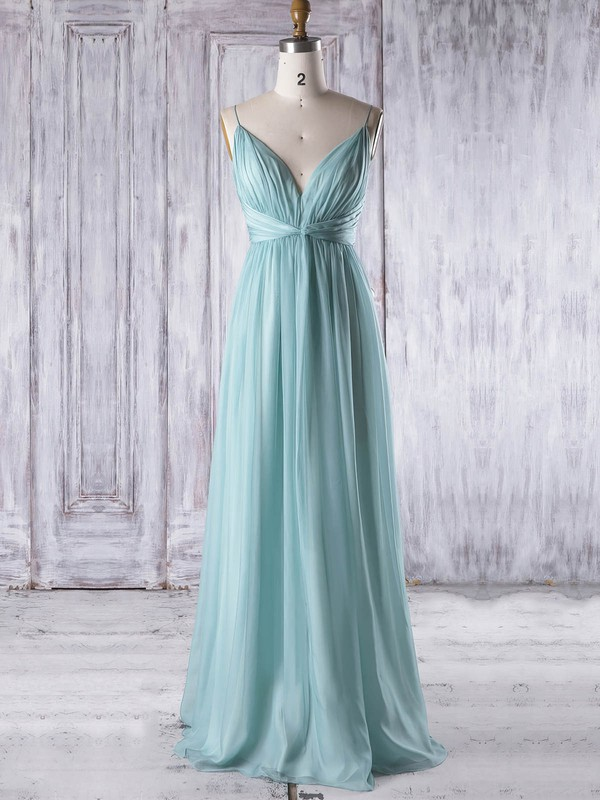 Chiffon V-neck Floor-length Empire with Ruffles Bridesmaid Dresses #PWD01013323