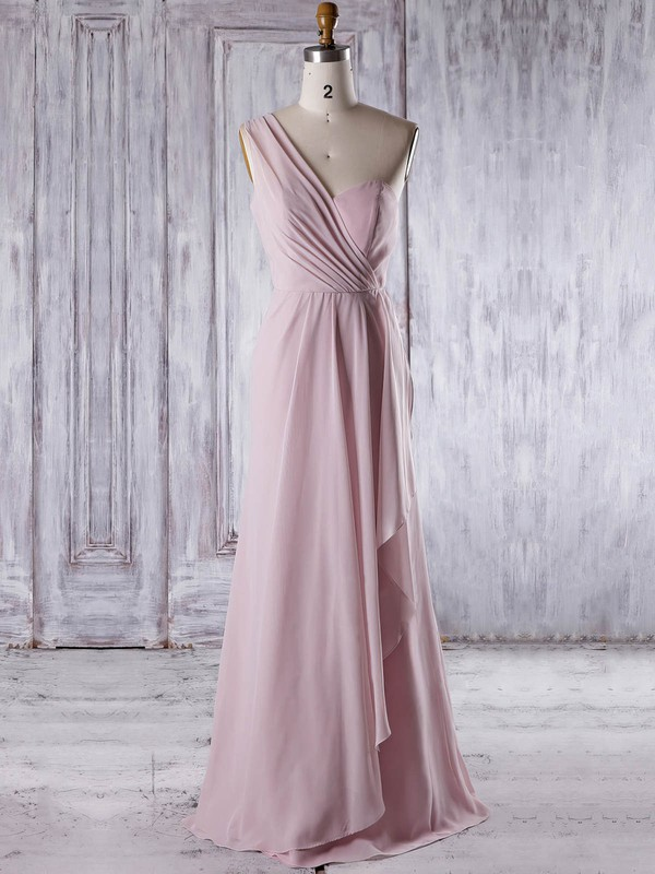 Chiffon One Shoulder Floor-length A-line with Ruffles Bridesmaid Dresses #PWD01013324