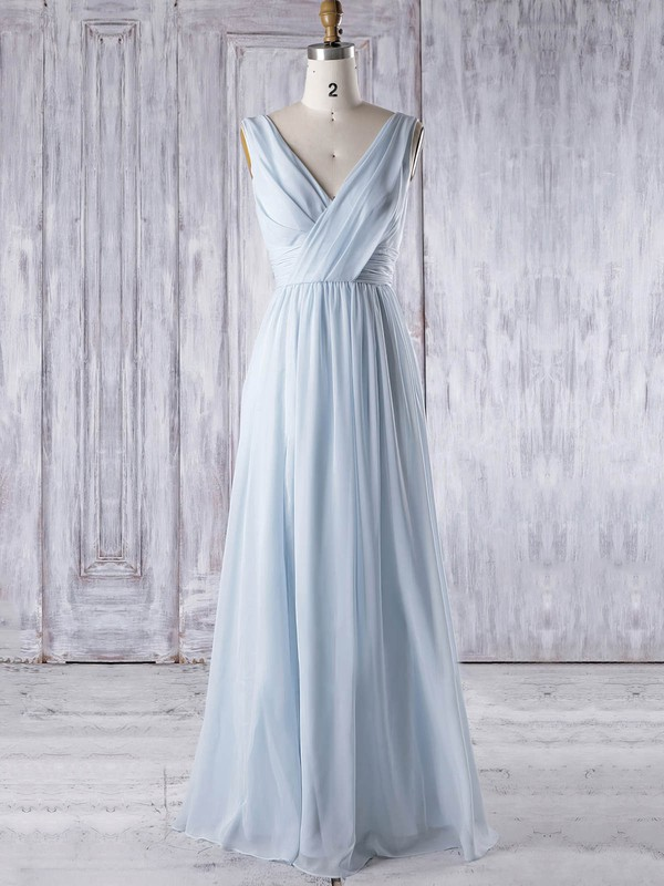 Chiffon V-neck Floor-length A-line with Ruffles Bridesmaid Dresses #PWD01013325