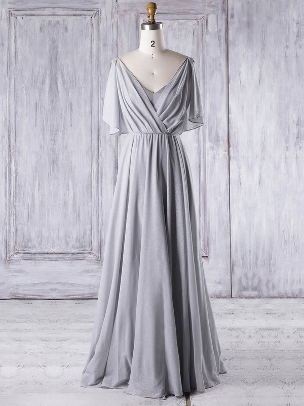 Chiffon V-neck Floor-length A-line with Ruffles Bridesmaid Dresses #PWD01013326
