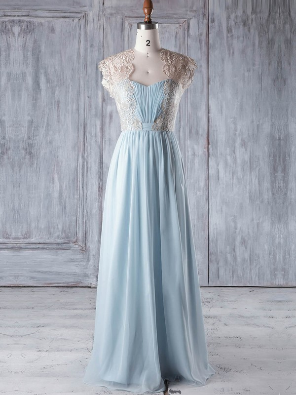 Lace|Chiffon Sweetheart Floor-length A-line with Ruffles Bridesmaid Dresses #PWD01013327