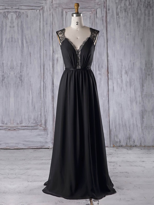 Lace|Chiffon V-neck Floor-length A-line with Sashes / Ribbons Bridesmaid Dresses #PWD01013328