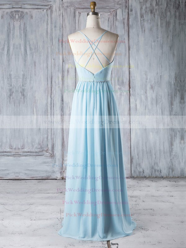 Chiffon V-neck Floor-length A-line with Beading Bridesmaid Dresses #PWD01013329