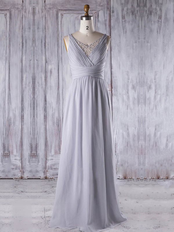 Chiffon|Tulle V-neck Floor-length A-line with Pearl Detailing Bridesmaid Dresses #PWD01013331