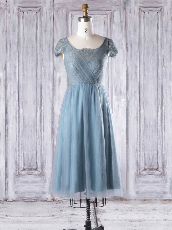 Lace|Tulle Scoop Neck Knee-length A-line with Ruffles Bridesmaid Dresses #PWD01013332