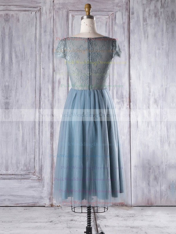 Lace Tulle Scoop Neck Knee-length A-line with Ruffles Bridesmaid Dresses #PWD01013332
