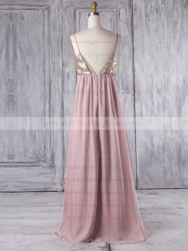 Chiffon V-neck Floor-length Empire with Sequins Bridesmaid Dresses #PWD01013333