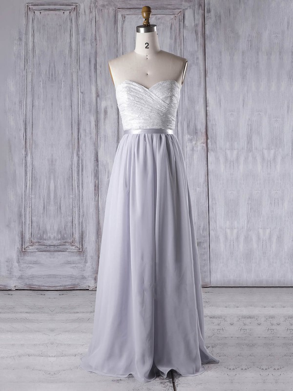 Lace|Chiffon Sweetheart Floor-length A-line with Sashes / Ribbons Bridesmaid Dresses #PWD01013334