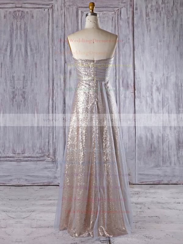 Tulle|Sequined Sweetheart Floor-length Empire with Ruffles Bridesmaid Dresses #PWD01013335