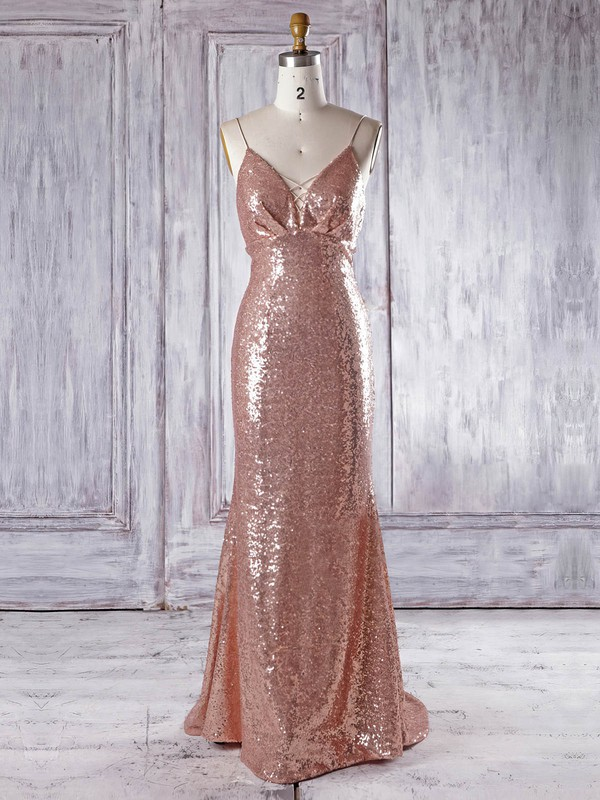 Sequined V-neck Sweep Train Trumpet/Mermaid with Ruffles Bridesmaid Dresses #PWD01013336