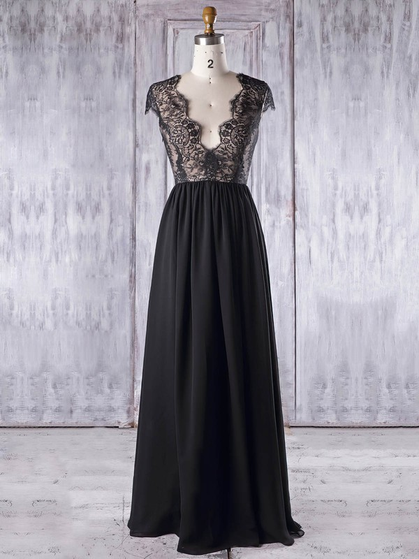 Chiffon|Tulle V-neck Floor-length A-line with Lace Bridesmaid Dresses #PWD01013337