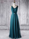 Chiffon V-neck Floor-length A-line with Sashes / Ribbons Bridesmaid Dresses #PWD01013338