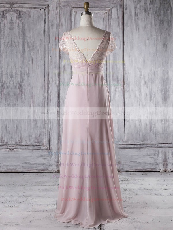 Lace|Chiffon V-neck Floor-length Empire with Ruffles Bridesmaid Dresses #PWD01013339