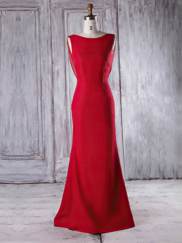 Chiffon|Silk-like Satin Scoop Neck Sweep Train Trumpet/Mermaid with Ruffles Bridesmaid Dresses #PWD01013340